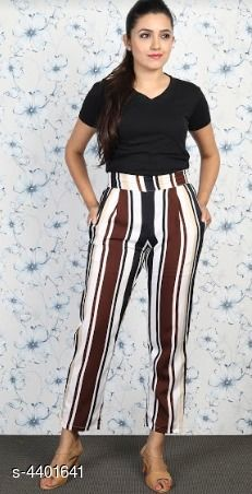 Trousers & Pants Grace Villa Women's Trouser Pant  *Fabric* Polyester  *Size* 28 in, 30 in, 32 in, 34 in  *Length* Up To 40 in  *Type* Stitched  *Description* It Has 1 Piece Of Women's Trouser Pant  *Pattern* Striped  *Sizes Available* 28, 30, 32, 34 *    Catalog Name: Free Mask Stylish Grace Villa Women'S Trouser Pants Vol 1 CatalogID_633063 C79-SC1034 Code: 523-4401641-