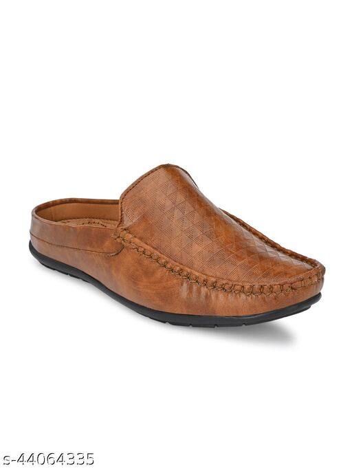 Guava Men Casual Open Back textured Loafers Mules Shoe - Tan