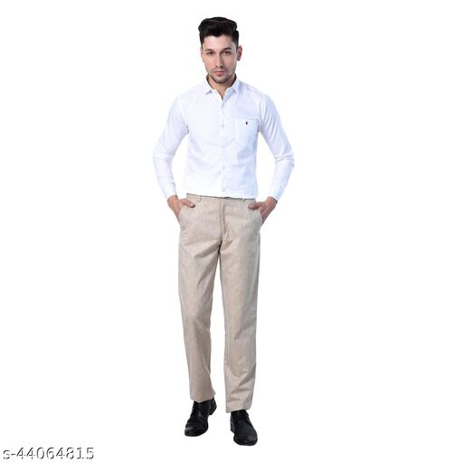 Comfortable Slim Fit Self Design Linen Men Formal Trousers.