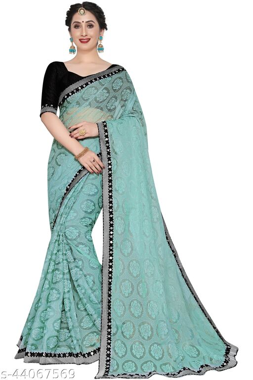 New Design FANCY FABRIC SAREE WITH LACE BORDER WORK