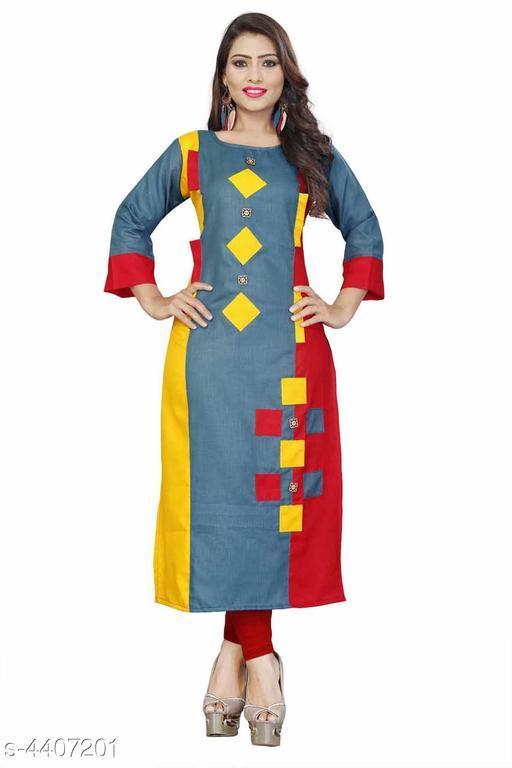 Women's Colorblocked Rayon Slub Kurti