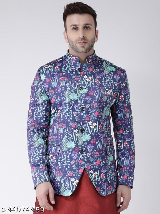 Hangup Men's Party Blazer Purple Polyester Viscose Blend Regular fit