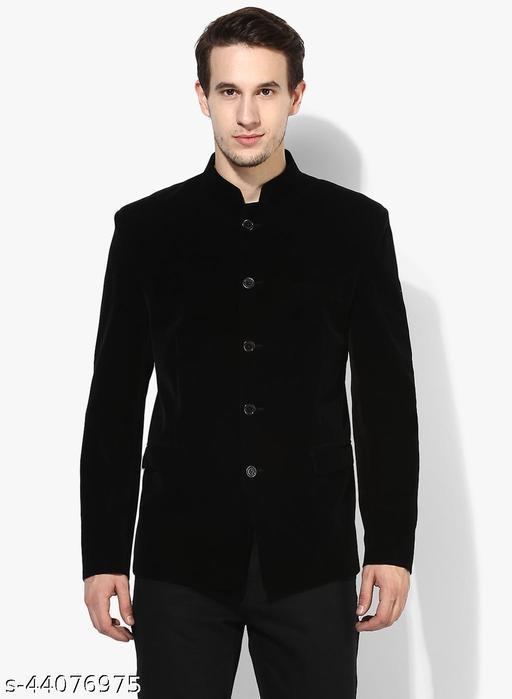 Hangup Men's Party Blazer Black Velvet Regular fit