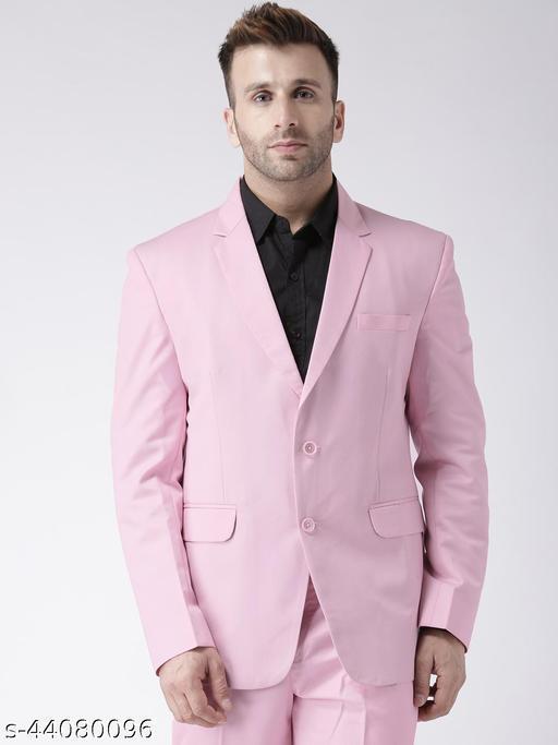 hangup Men's Formal Blazer Pink Polyester Viscose Regular fit