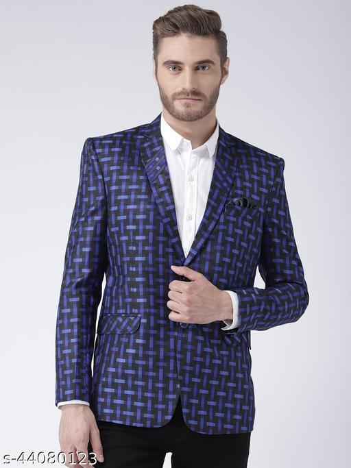 Hangup Men's Party Blazer Blue Polyester Viscose Regular fit