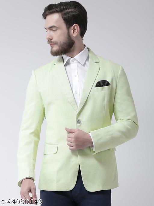 Hangup Men's Casual Blazer Green Linen Regular fit
