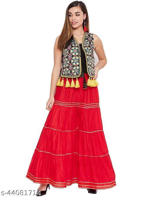 Unik Women/Girls Regular Fit/Flared Traditional/Rayon Sharara/Gharara