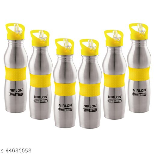 NIRLON STAINLESS STEEL HIGH DURABLE,DISHWASHER SAFE,WATER BOTTLE,PACK OF 06,700ML