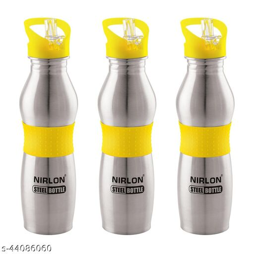 NIRLON HIGHLY DURABLE,SS,SINGLE WALL WATER BOTTLE USE FOR GYM,OFFICE,PACK OF 03,700ML