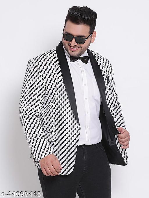 HANGUP Men Casual Blazer Grey Knitting  Regular fit