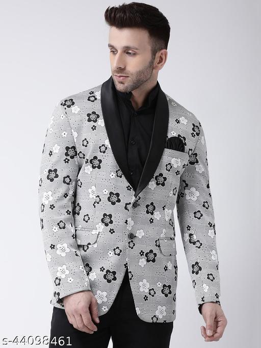 Hangup Men's Party Blazer Grey Hosiery Regular fit