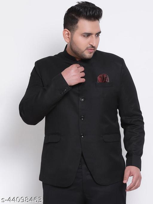 HANGUP Men Casual Blazer Black Polyester Viscose Regular fit