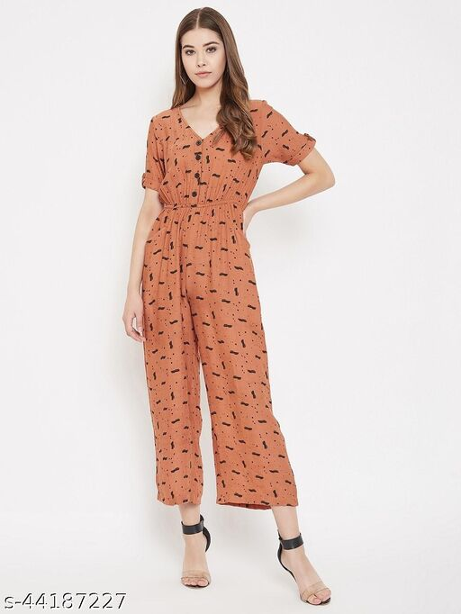 Abstract Print Elasticated Jumpsuit