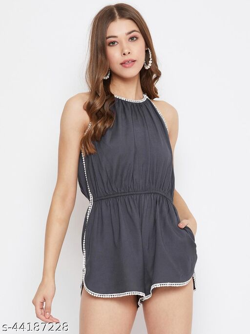 Grey Playsuit With Lace Detailing