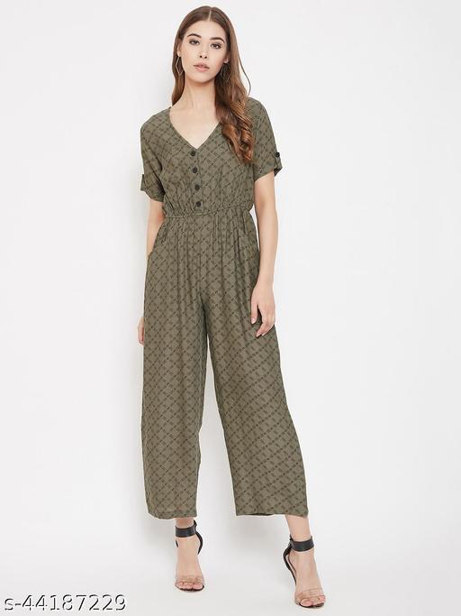 Grey Printed Elasticated Jumpsuit