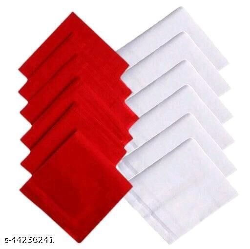 Men's Cotton 6Red & 6White  Handkerchief (Pack of 12)