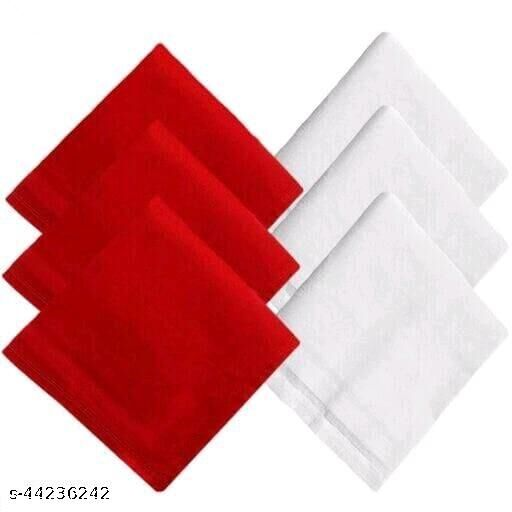 Men's Cotton 3Red & 3White Handkerchief (Pack of 6)