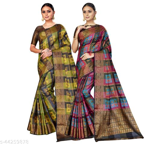 Woven Design Banglori Silk Saree with Unstiched Blouse piece