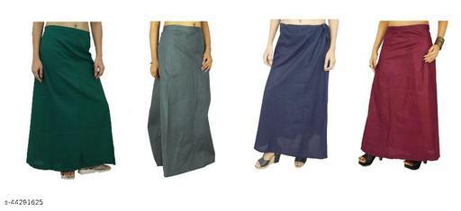 Vimal 100% pure cotton saree Petticoat Pack of 4, COMBO (Free Size, Drawstrings) (Dark Green, Navy Blue, Grey, Maroon)