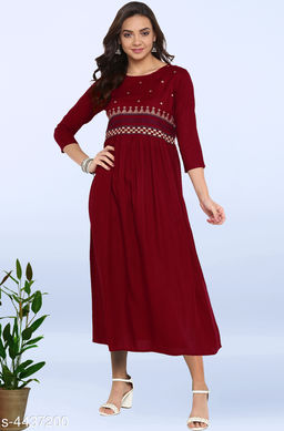 Women's Embroidered Maroon Rayon Dress