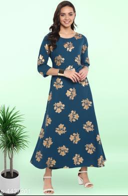 Women's Printed Teal Poly Crepe Dress