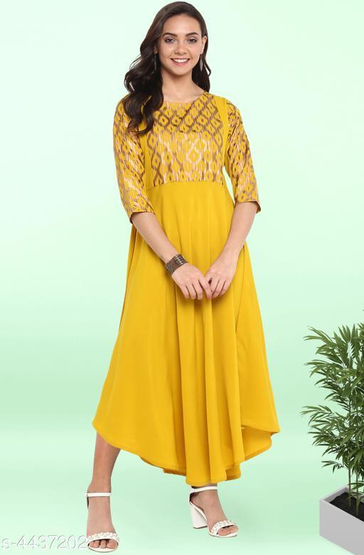 Women's Printed Yellow Poly Crepe Dress