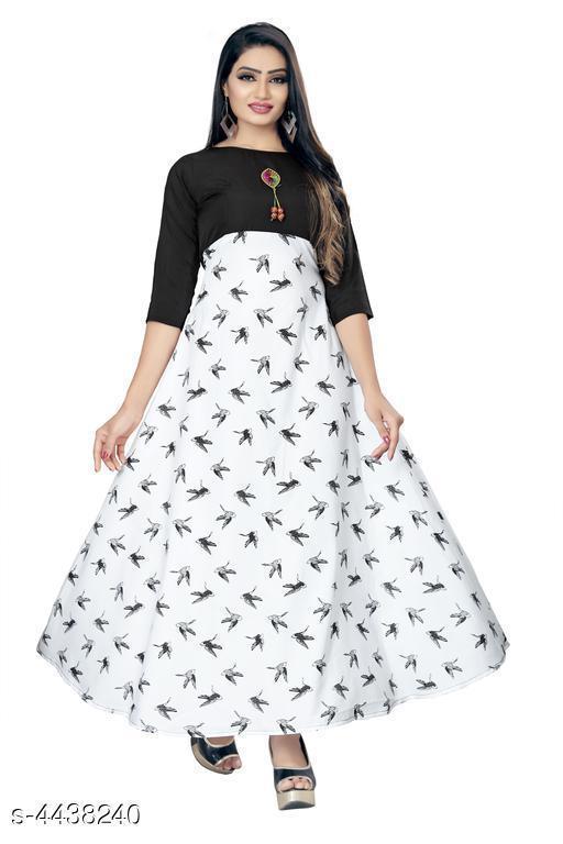 Solid Multicolor Maxi Crepe Dress