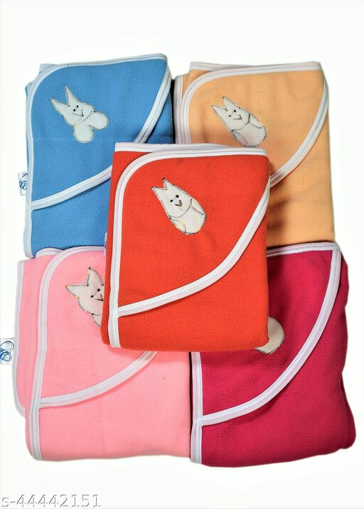 First Sleep Pack of 5 New Born Baby Blanket Kids Blanket Baby Warm Blanket for heavy winters AC Blanket Combo Pack of blankets baby Wraps Wrappers Swaddles Flannel baby Sheet Blanket-Multicolor Pack of 5
