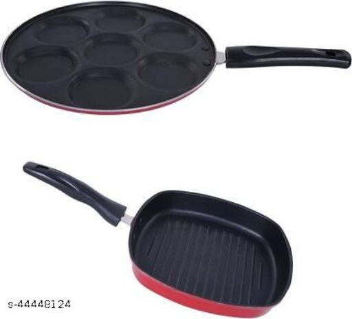 Nirlon Non-Stick Coated 2 Piece Gas Compatible Kitchenware Combo Gift Set Offer with Bakelite Handle, 2.6mm_UP(7)_GP(22.5)