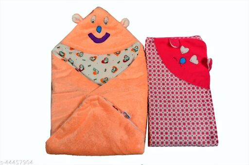 First Sleep Pack of 2 New Born Baby Blanket Kids Blanket Baby Warm Blanket for heavy winters AC Blanket Combo Pack of blankets baby Wraps Wrappers Swaddles Flannel baby Sheet Blanket-Multicolor Pack of 2