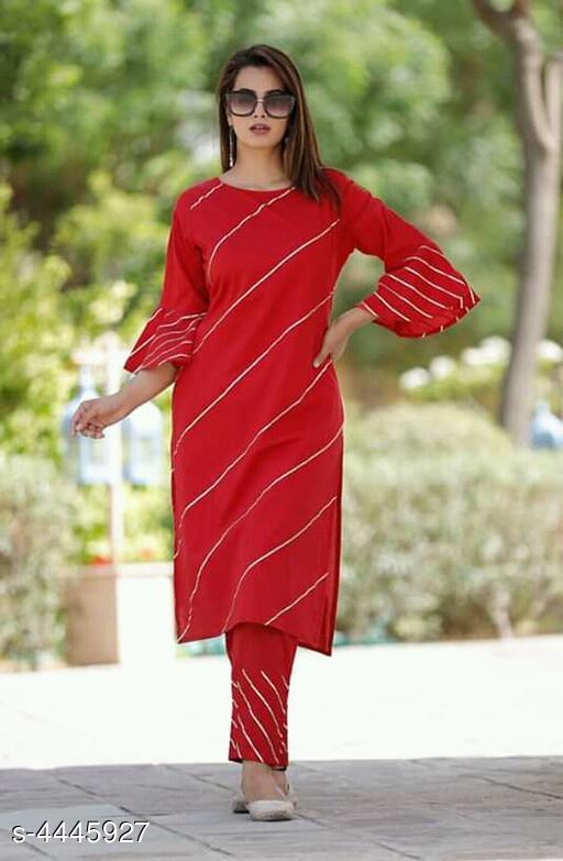 Women Striped Rayon Kurta Set with Pants