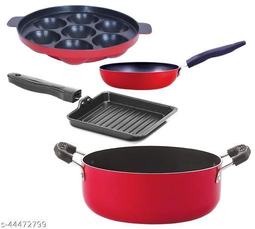 Nirlon Kitchenware Aluminium Cookware 3 Layer Superior Coating Combo Set of 4-Pieces Premium Quality (CVG_AP7_SGP_CS24)