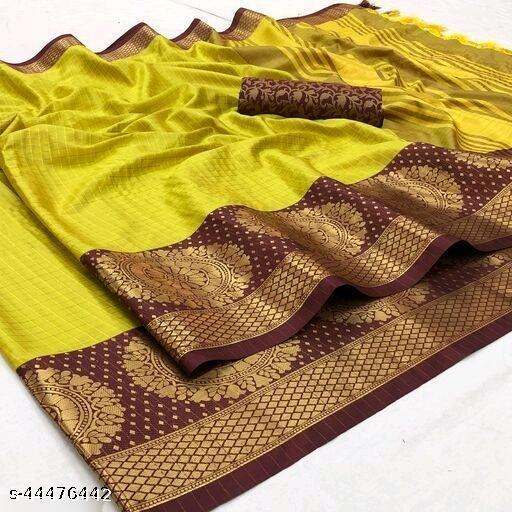 New Aura Cotton Silk Rich  Pallu  Saree For Woman