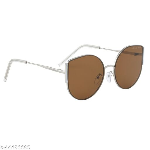 Royal Son Latest Stylish Cat Eye Oval Goggles Sunglasses For Women Girls Ladies (Brown Lens) CHI0076