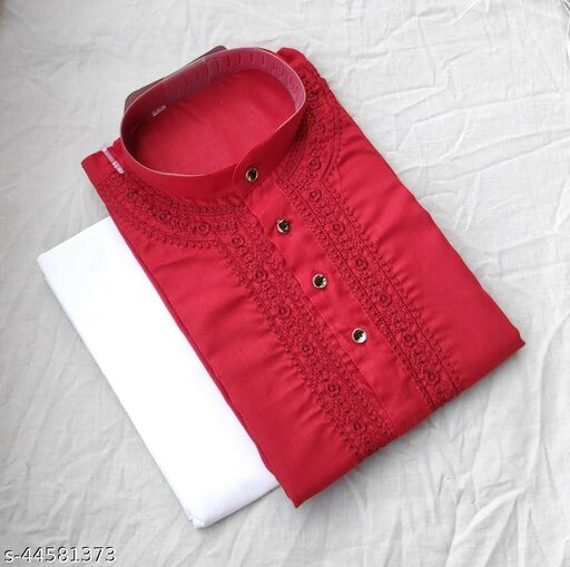 Baraji Chikankari Kurta Pajama Color Red