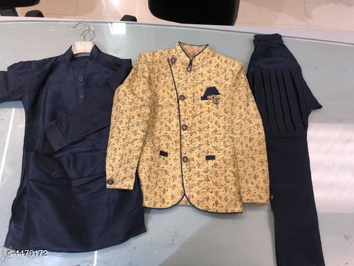 Kurta Sets Stylish Kid's Boys Kurta Set  *Fabric* Kurta -Polyester dupian Dupion  , Pyjama -Polyester Dupion  , Coat -  Jacquard  *Sleeves* Sleeves Are Included  *Size* Age Group (1 - 2 Years) - 18 in Age Group (2 - 3 Years) - 20 in  *Type* Stitched  *Description* It Has 1 Piece Of Kid's Boy Kurta ,1 Piece Of Kid's Boy Pyjama& & 1 Piece of Kid's Coat  *Work * Kurta -  Solid  , Pyjama - Solid , Coat - Printed  *Sizes Available* 3-4 Years, 1-2 Years *    Catalog Name: Stylish Kid's Boys Kurta Set CatalogID_644954 C58-SC1170 Code: 5811-4470172-