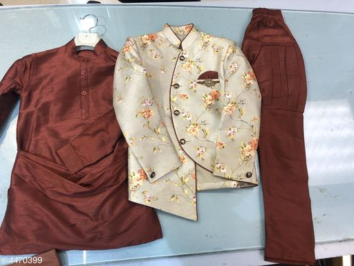 Kurta Sets Stylish Kid's Boys Kurta Set   *Fabric* Kurta -Polyester dupian Dupion  , Pyjama -Polyester Dupion  , Coat -  Jacquard  *Sleeves* Sleeves Are Included  *Size* Age Group (1 - 2 Years) - 18 in Age Group (2 - 3 Years) - 20 in  *Type* Stitched  *Description* It Has 1 Piece Of Kid's Boy Kurta ,1 Piece Of Kid's Boy Pyjama& & 1 Piece of Kid's Coat  *Work * Kurta -  Solid  , Pyjama - Solid , Coat - Printed  *Sizes Available* 3-4 Years, 1-2 Years *    Catalog Name: Stylish Kid's Boys Kurta Set CatalogID_644954 C58-SC1170 Code: 5811-4470399-