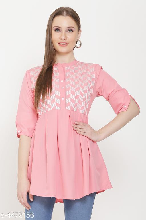 Women's Printed Pink Crepe Top