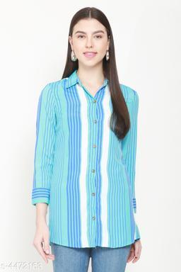 Women's Printed Blue Crepe Top