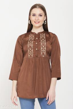 Women's Printed Brown Crepe Top
