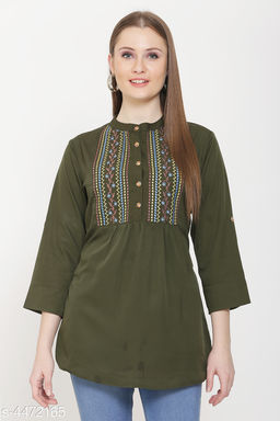 Women's Embroidered Green Crepe Top