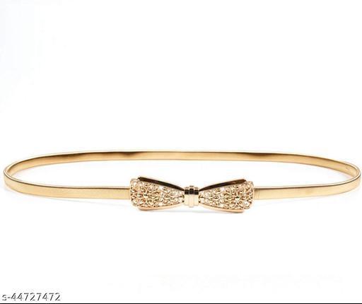 Golden Cute Bowknot Stretchable Waist Belt for Girls and Women