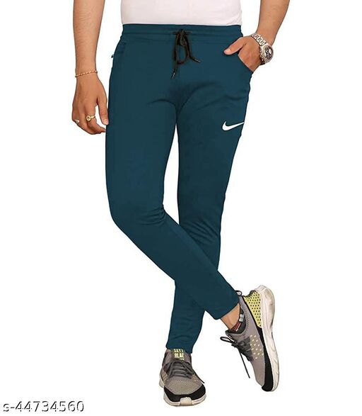 Pratiksha Creation Lycra CottonPrinted Regular Fit Slim FitFull Size Ankalenth Men Fashion Track Pants (Airforce Blue)