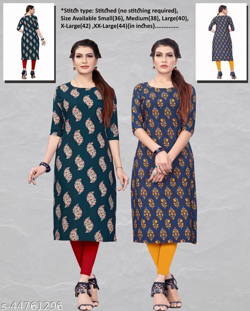 Women's Ethnic Wear Straight Kurti (Combo Pack Of 2)