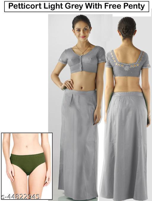 Women 100% Premium Cotton Saree Petticoats Lighte Grey Colour + Free Penty (Pack Of 1 Pcs)