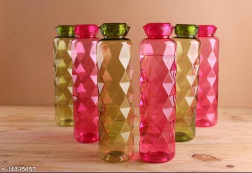 HASHONE Plastic Fridge Water Bottle Set-Unbreakable Bottle (Set of 6-yellow)