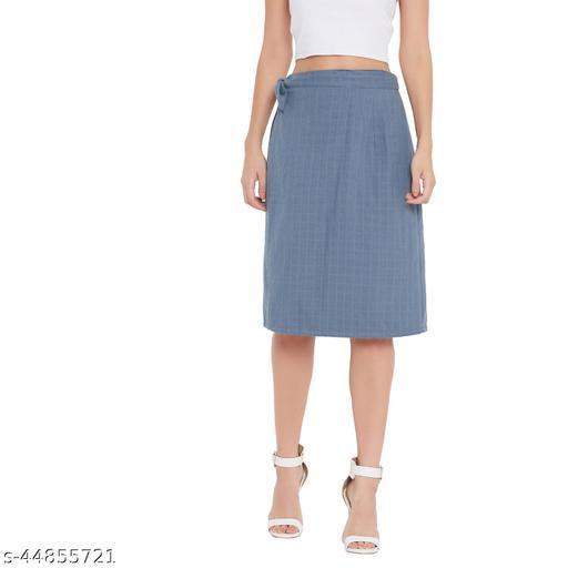 Ruhaan's Womens Cotton Dobby Checked Grey Wraparound Skirt