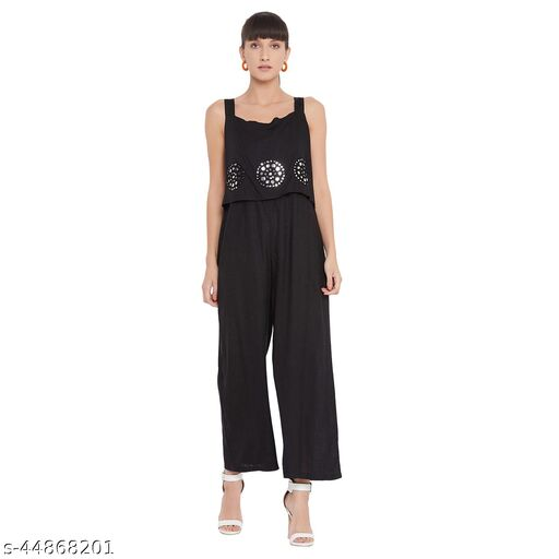 Ruhaan's Womens Cotton Embroidered Black Jumpsuit