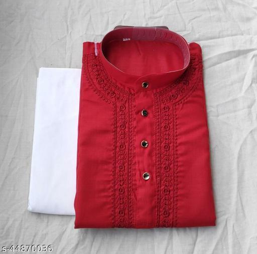 Men's Chikankari Kurta Pajama Color Red