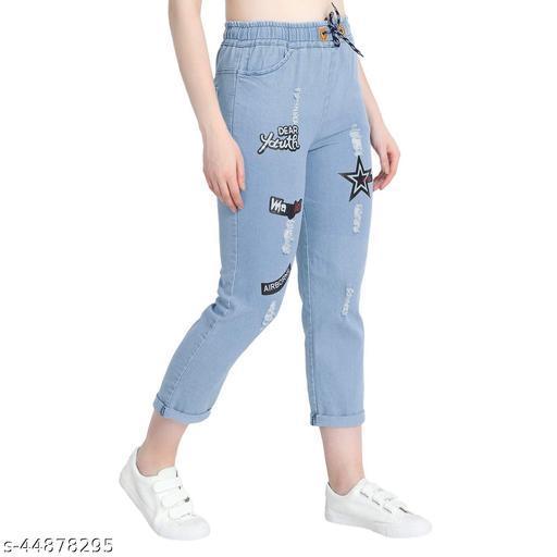 Women's  Denim Jeans Elastic Waist Drawstring Stretch Side Pockets Casual Star Light Blue Jeans
